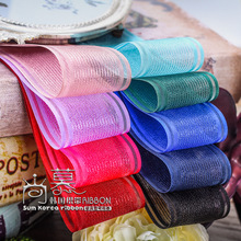 100yards 40mm satin edge stripes organza sheer ribbon for hair bow diy accessories bouque flower packing supplies