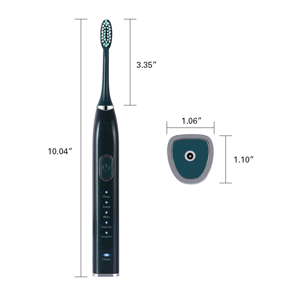 Hot Smart 10 Modes Sonic Electric Toothbrush USB Rechargeable Ultrasonic Tooth Brush Whitening 5/ 10 Replacement Head Waterproof