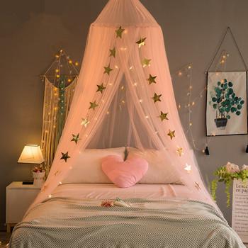 DROP SHIPPING Baby baldachim do łóżka kurtyna wokół kopuły moskitiera szopka siatki wiszące namiot dla dziec dekoracja do pokoju dziecięcego tanie i dobre opinie GUUUUO Trzy-drzwi Łóżko falbany circular Camping Pałac moskitiera Llin Poliester bawełna