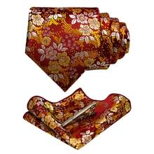 JEMYGINS Mens Tie Classic Floral 100% Silk Jacquard Necktie Hanky Tie
