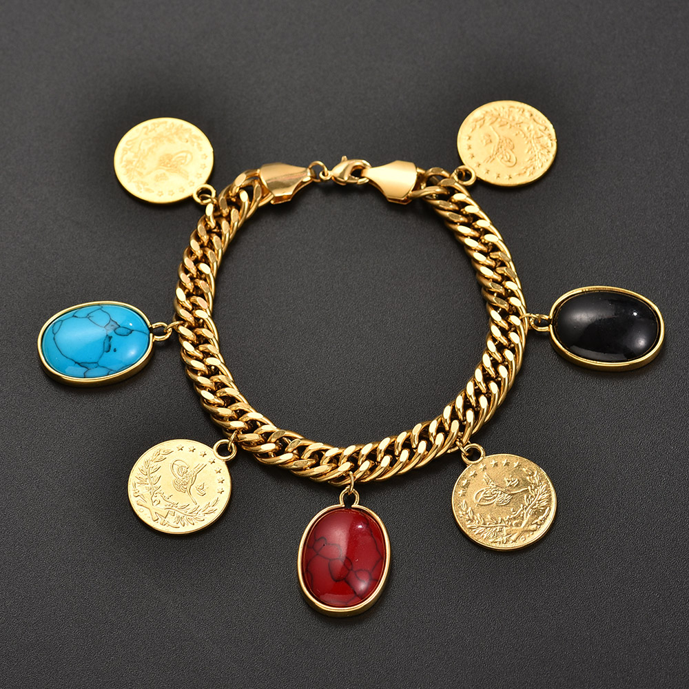 Gold Color Turks Simgesi Osmanli Turasi Muslim Islam Bangle Arab Allah Jewelry Length 22.5CM/Turkey Coin Bracelet for Women