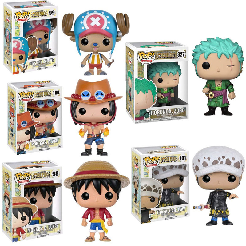 FUNKO POP Japanese Anime One Piece Luffy ACE LAW Tony Chopper Roronoa Zoro Vinyl Action Figure toys for Children Christmas Gift image