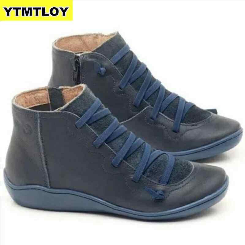 2020 kadın PU deri yarım çizmeler kadın sonbahar kış çapraz Strappy Vintage Punk çizmeler düz bayan ayakkabıları kadın Botas Mujer
