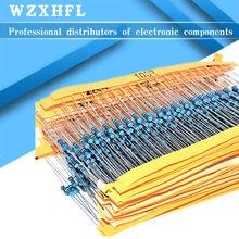 100pcs 1/4W 1R~10M 1% Metal film resistor 100R 220R 1K 1.5K 2.2K 4.7K 10K 22K 47K 100K 100 220 1K5 2K2 4K7 ohm resistance