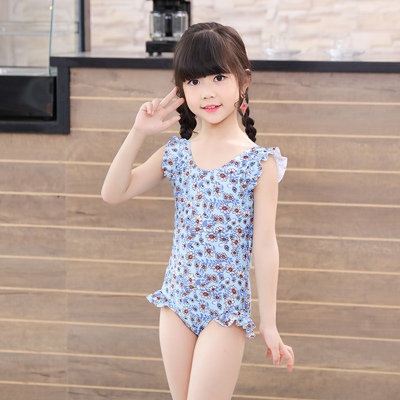 New Style GIRL'S One-piece Swimming Suit Triangular Floral Frilled Cute Big Boy GIRL'S Hot Springs CHILDREN'S Swimwear