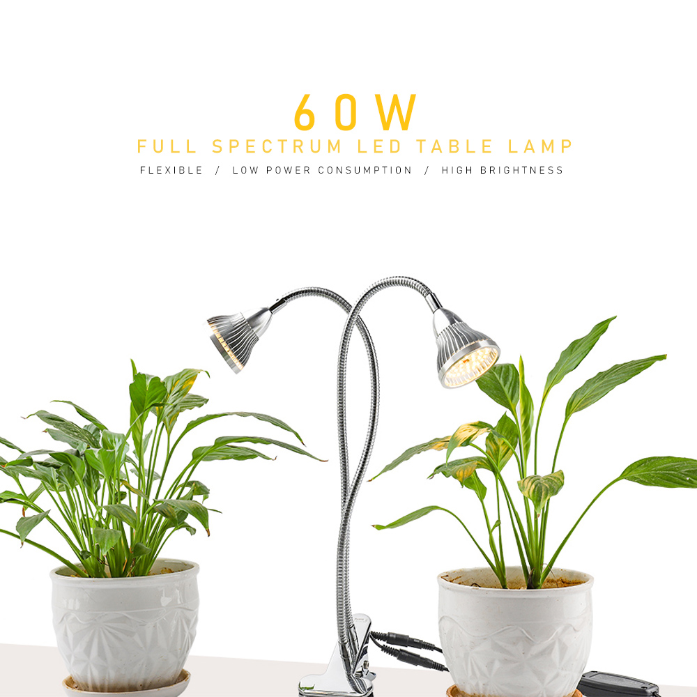 Warm Light Plant Lamp LED Grow Light Flexible Dual Head With Holder Clip Phytolamp For Indoor Desk Table Flowers Bloom Grow Box