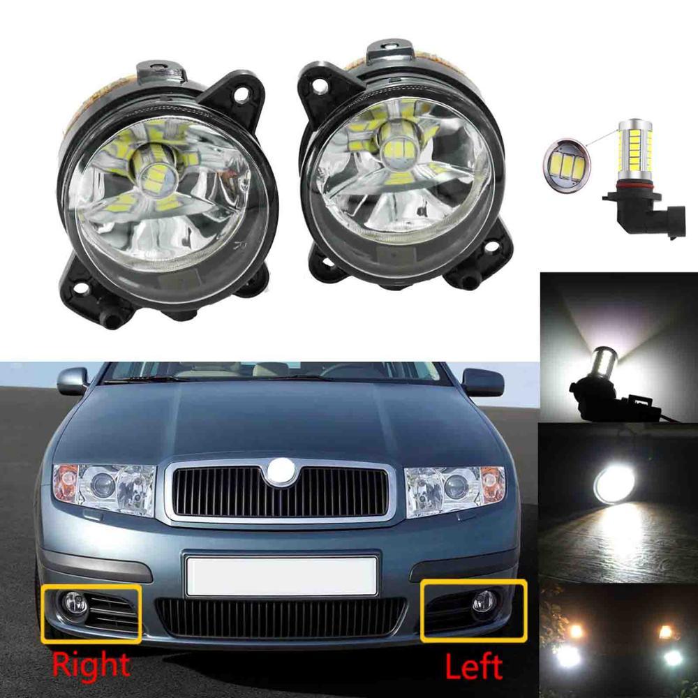 LED Car Light For Skoda Fabia Mk1 2005 2006 2007 2008 Car Light Front LED Fog Lamp Fog Light With Bulbs