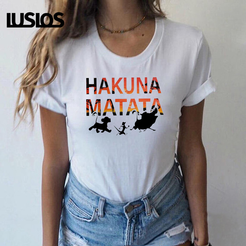 Luslos <font><b>Hakuna</b></font> <font><b>Matata</b></font> Family Matching T-shirts <font><b>Lion</b></font> <font><b>King</b></font> T Shirt Girl Vacation Casual Short Sleeve Tops Female Graphic Tee Women image