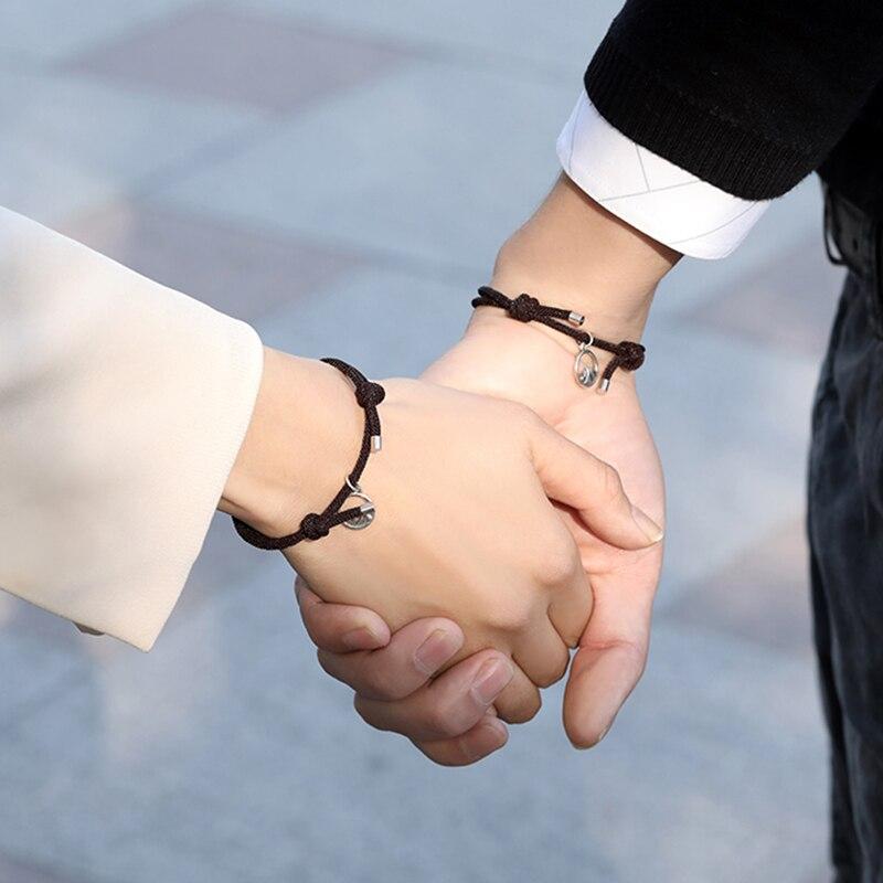couple bracelet Women's bracelets 2Pcs/set Friendship Rope Braided Distance Couple Magnetic Bracelet Kit Attract Lover Jewelry