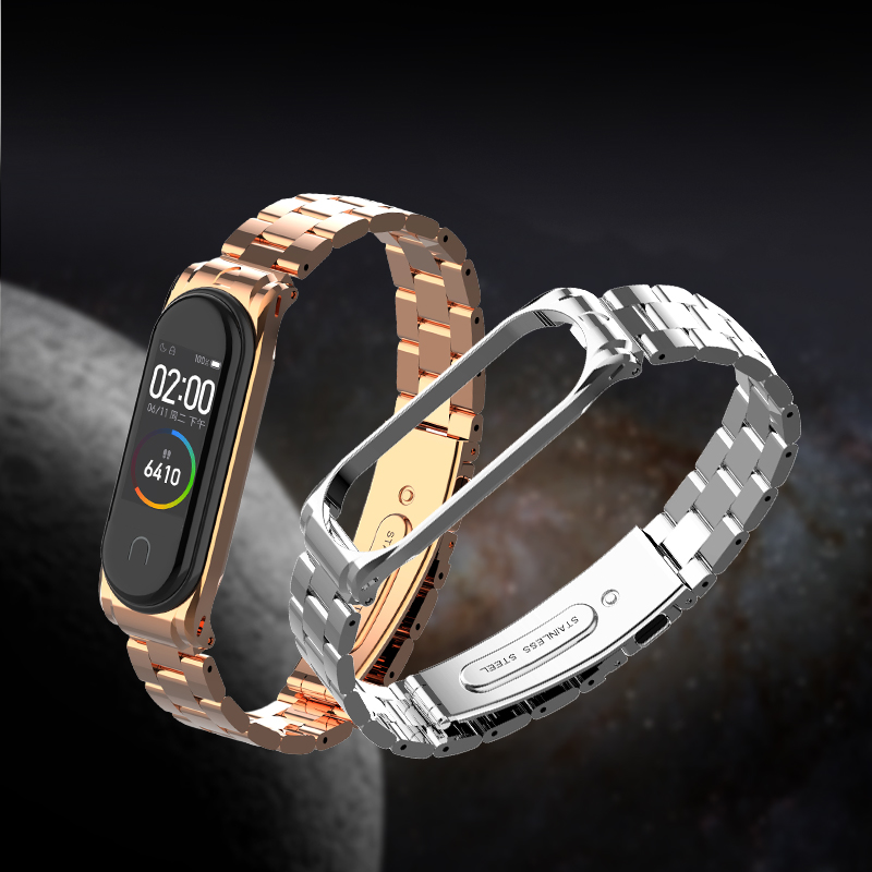 Stainless Steel Strap Mi Band 4/3 Metal Band For Xiaomi Mi Band 4 Bracelet Mi Band3 /mi Band 3 Accessories Folding Buckle