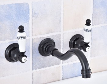 цена на Black Oil Rubbed Bronze Widespread Wall-Mounted Tub 3 Holes Dual Handles Kitchen Bathroom Tub Sink Basin Faucet Mixer Tap asf496