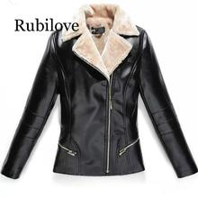 Rubilove 2019 Winter Women Leather Jacket Plus Velvet Warm Female Faux Jackets Fashion Turn Collar Office Lady Coat Blac