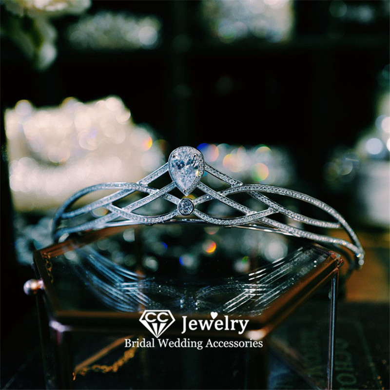 CC Hair Crowns Women Wedding Accessories Bridal Tiaras Engagement Jewelry Water Drop Shape Diadem Simple Design Headdress HS59