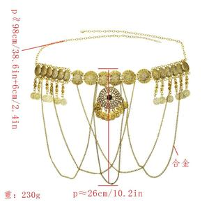 Image 3 - India Sexy Metal dorado flor hueca moneda Cadena de cuerpo con flecos baile Bikini de arnés Bra Belly Belt Waist Chain joyería egipcia