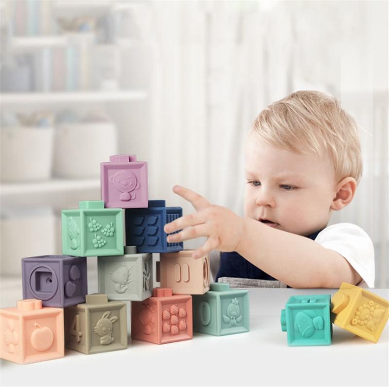 Детские мягкие игрушки, сенсорные силиконовые развивающие строительные блоки, 3D подвесной шар, Прорезыватель для зубов, сжимаемые игрушки ...