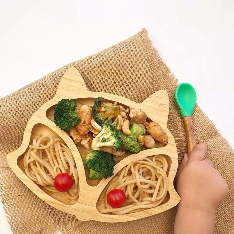 Children's Crockery Bamboo Wood Dinnerware Set Dishes Baby Table Plate Cartoon  Bowl Feeding Set Spoon With Stay Put Suction