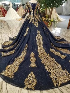 Image 5 - Navy Blue Long Sleeves Ball Gowns Wedding Dresses 2020 Arabic Muslim African Black Skin Gold Lace Vintage for Bridal Women Wear