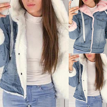 2019 New Women Denim Jacket With Fur Winter Jeans Warm Hooded Velvet Ja