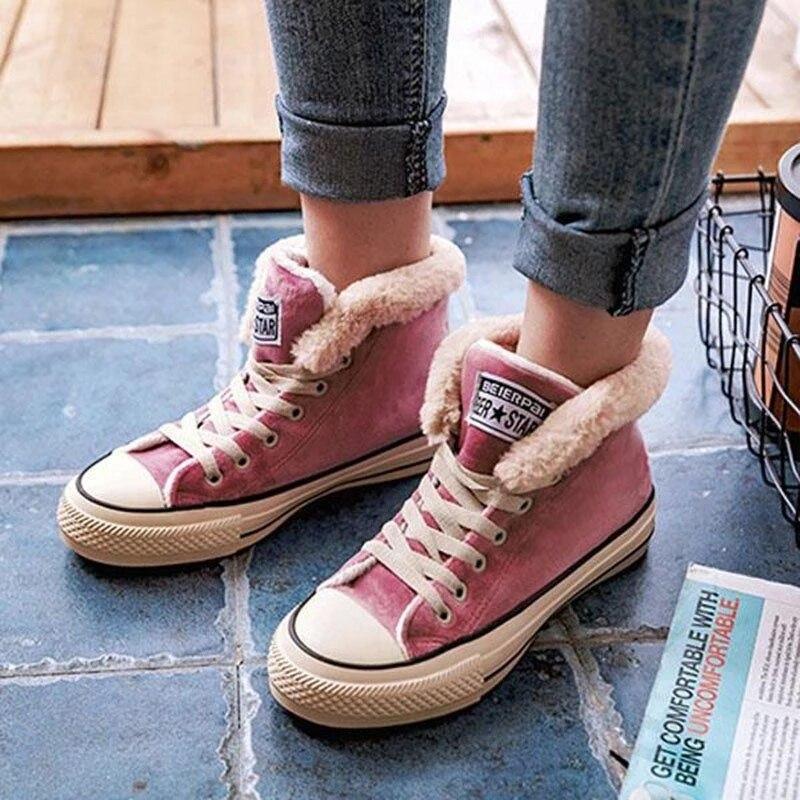 Women Warm Shoes Winter short Plus Velvet Cotton Shoes Soled Ladies Snow Boots Lace Up Female