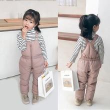 Детские зимние теплые комбинезоны для девочек и мальчиков; зимние плотные штаны; хлопковые детские комбинезоны для девочек 1-5 лет