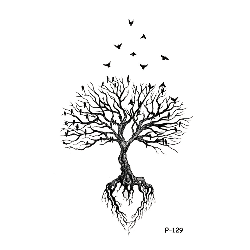 Wyuen Tree Birds Fake Tattoo Flower Temporary Tattoo Stickers for Women Men on Body Art Original Moon Waterproof Tatoos P-129 1