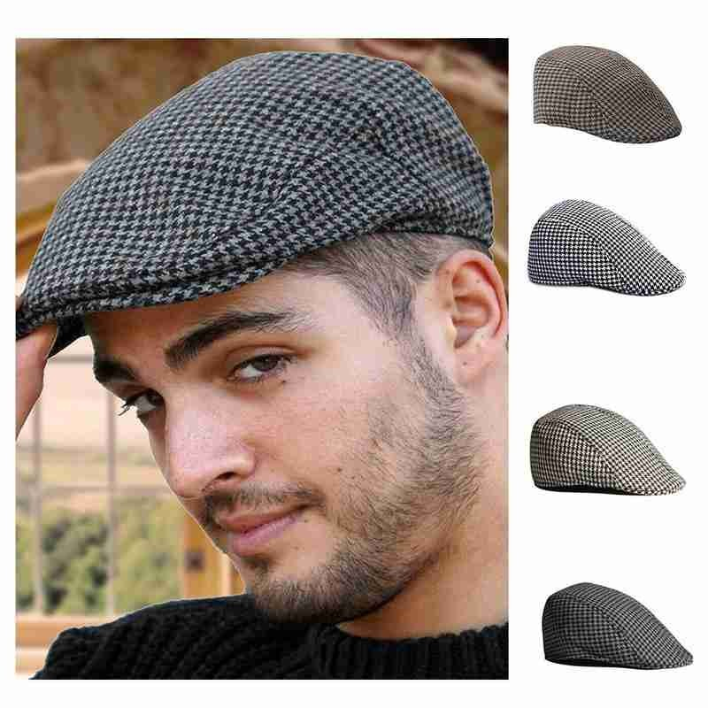 Fashion Herringbone Newsboy Baker Boy Tweed Flat Cap Mens Gatsby Hat Designer Luxury Cappello da donna Beret Femme