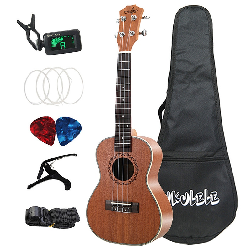 Concert Ukulele Kits 23 Inch 4 Strings Hawaiian Mini Guitar With Bag Tuner Capo Strap Stings Picks Musical Instrument