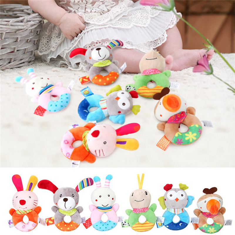 Baby Toys Plush Cute Baby Rattles Mobiles Cartoon Animal Hand Bell Rattle Soft Toddler Toy Learning Education Appease Doll