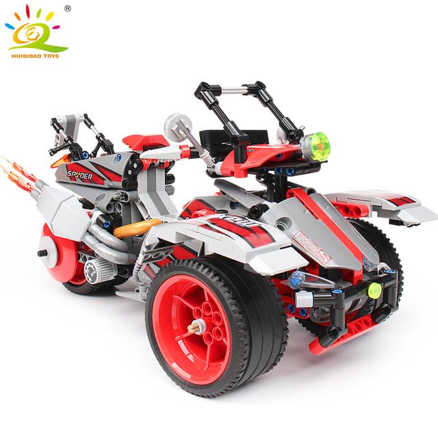 HUIQIBAO 511PCS Off-Road Car Building Blocks Technic Truck voiture Bricks Pullback Car Educational Toys for Children