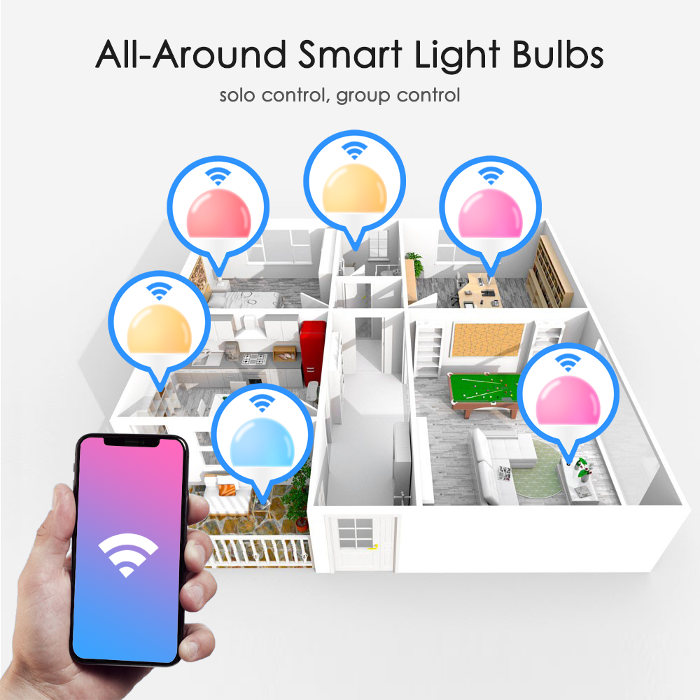 Lampe intelligente à contrôle vocal avec Alexa et Google, ampoule intelligente 15 W, led Wifi, 110V 220 V,