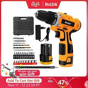 Image 1 - HILDA 12V 전기 드릴 충전식 리튬 배터리 전기 스크루 드라이버 코드가없는 스크루 드라이버 2 단 전동 공구