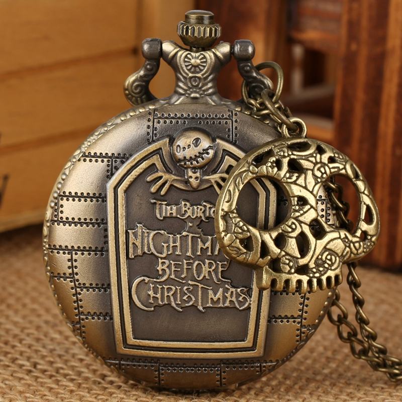 Retro Bronze The Nightmare Before Christmas Pocket Watch Jack Skellington Tim Burton Movie Kid Pendant Clock Gift With Accessory