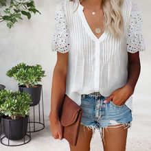 Summer Solid Color V-neck Pleated Lace Stitching Short-sleeved Shirt Casual Elegant Chiffon Shirt 6 Colors Plus Size S-5XL