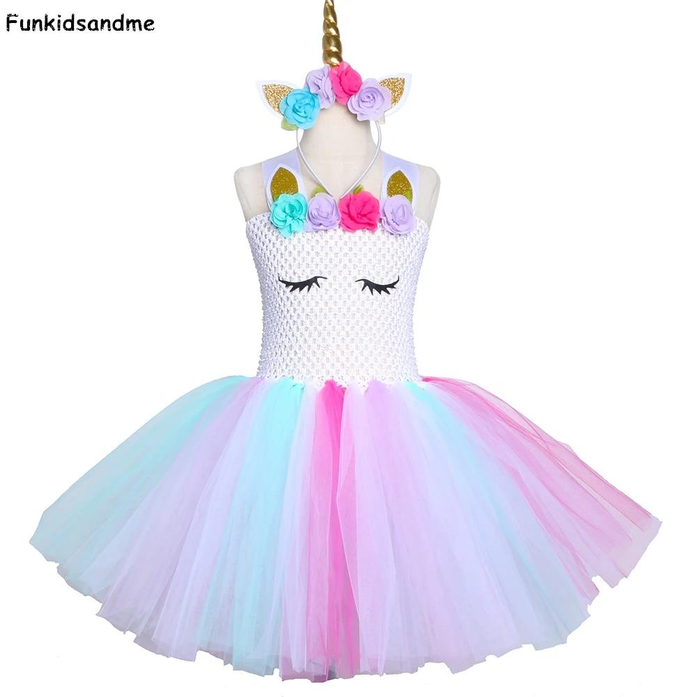 2020 Flower Girls Unicorn Dress Party Costume Fancy Outfit Tutu Skirt Birthday