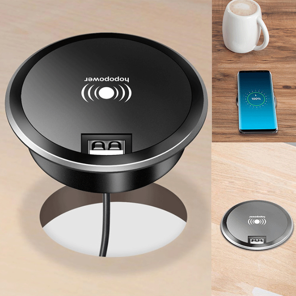 DIY Wireless charger Embed Desktop Fast Wireless Charger Furniture Office Table Desk Mounted fast Charging pad For IPhone X XS