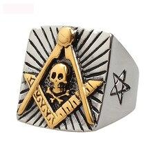 Luxury Freemasonry Jewelry Titanium Steel  Rings Casting Gifts Vintage Ring For Man Free shipping цена 2017