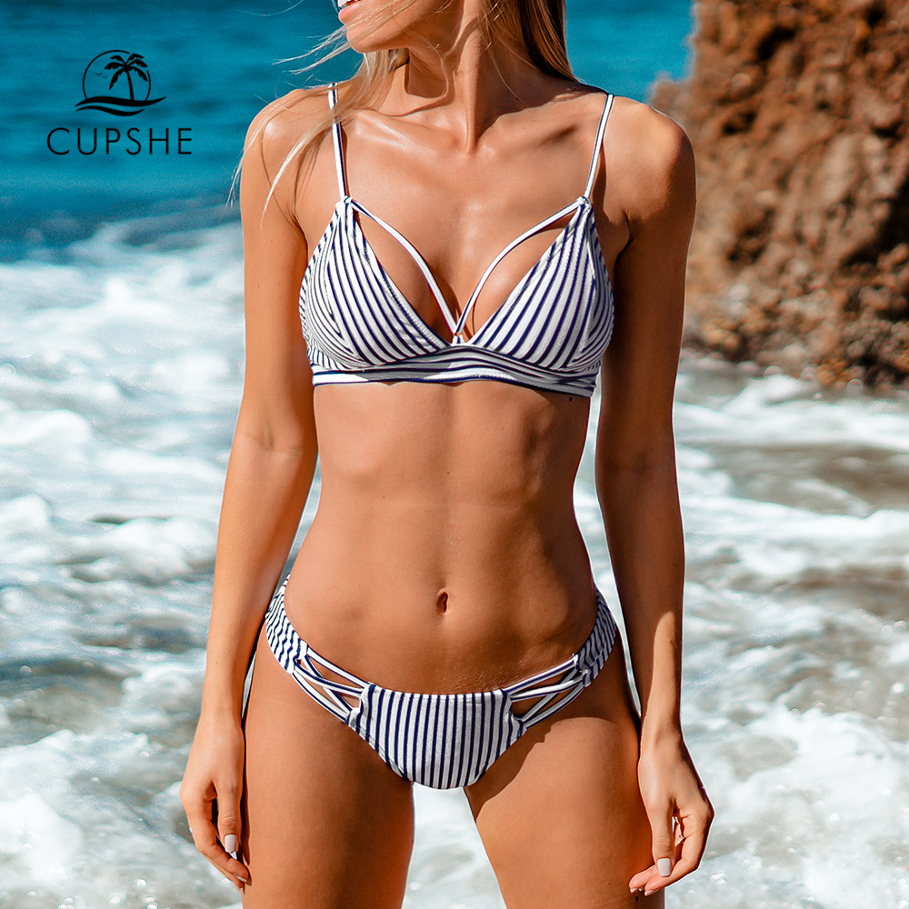 CUPSHE Navy And White Stripe Strappy Bikini Sets Sexy Cut Out Lace Up Swimsuit Two Pieces Swimwear Women 2020 Beach Bathing Suit