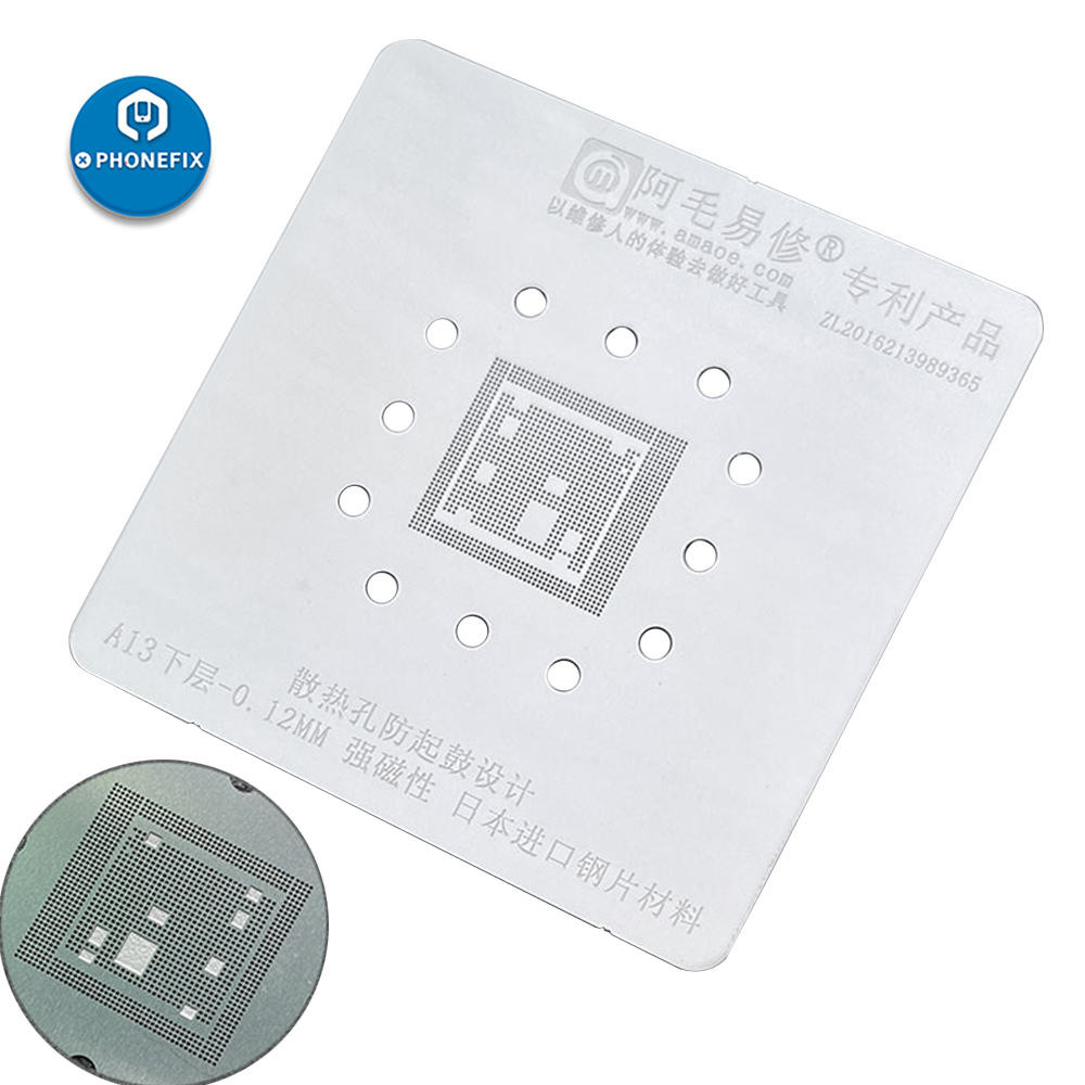 AMAOE BGA Reballing Stencil Middle Layed Stencil For IPhone 11Pro MAX Repair A13 CPU BGA For IPhone Repair Tin Planting Net