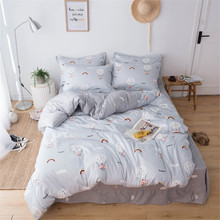 2019 Elephant Rainbow Grey Balloon Bedlinens Twin Queen Size Bedding Set Egyptian Cotton Duvet Cover Set Bed Cover Pillowcases olympic queen size 600 thread count 100% egyptian cotton 16 deep pocket tailored bedskirt solid elephant grey created by pearl bedding