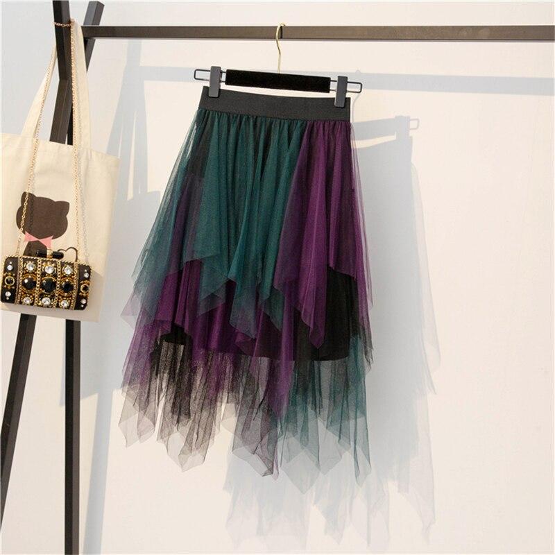 Women's Tulle Irregular Skirt Fashion Mesh High Waist Woman Midi Skirts Elegant Vintage Sweet Elastic Party Tutu Skirt