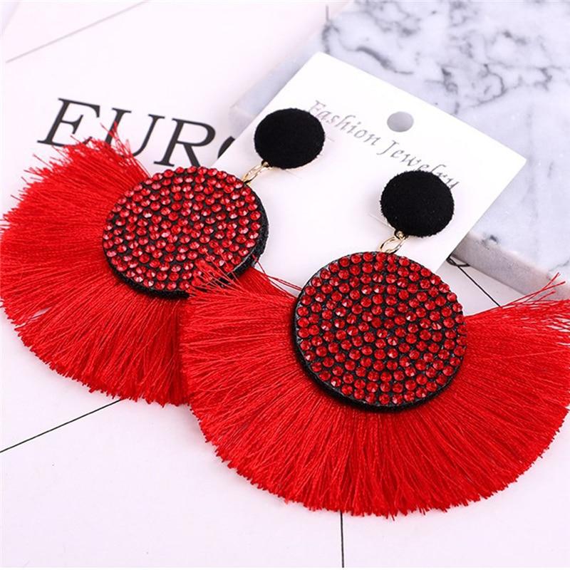 Tassel Earrings Bohemian Statement Luxury Long Earring African Colorful Handmade Women Geometric Fringe Fashion Big Rhinestone in Drop Earrings from Jewelry Accessories