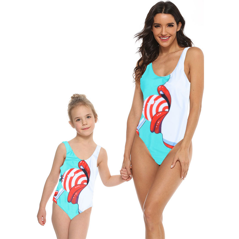 Baby Girl One Piece Swimsuit Family Matching Mommy and Me Swimwear Women Monokini