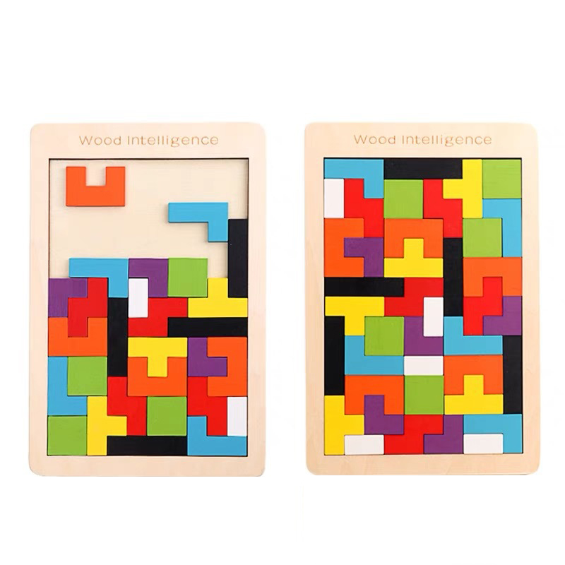Wood Board Jigsaw Puzzle Brain Teaser Tangram Tetris Wooden Toy Educational Game Learning Children Kids Baby Birthday Gift Adult