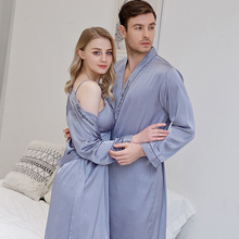 Spring and Summer Newest Simulation Silk Couples Nightgown Men and Women Embroidered Morning Bride Bridesmaid Nightrobe
