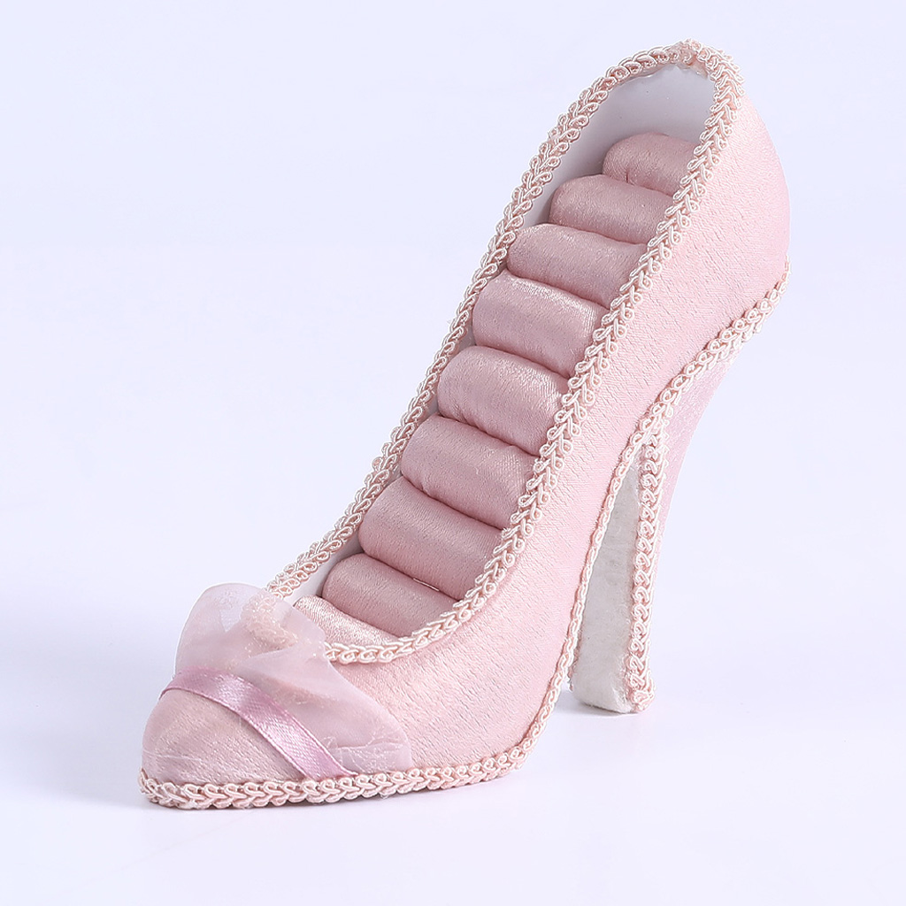 Resin High-heel Shoes Ring Display Stand Pink Resin 8 Slots Ring Showcase