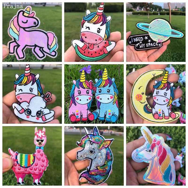 Prajna Hippie Unicorn Iron On Patches On Clothes Magic Rainbow Embroidered Patches For Clothing Applique Kids T-shirt Jacket DIY
