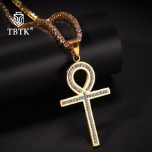 TBTK Paved Rhinestones Stainless Steel Ankh Crystal Pendant Necklace Unisex Trendy Egyptian Crucifix Jewelry Gold(China)