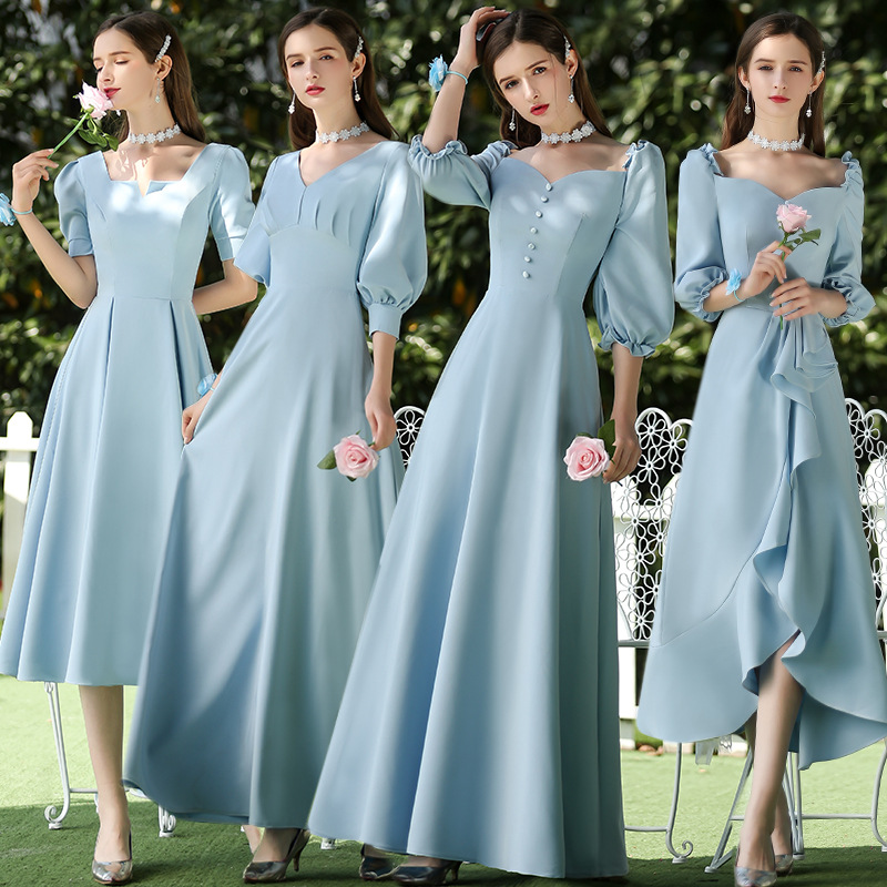 Bridesmaid Dresses Water Blue A Line Elegant Vestido De Festa Longo V-Neck Puff Sleeve Women Formal Wedding Guest Gowns R013