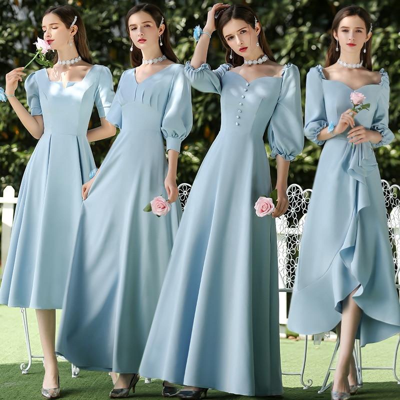 Bridesmaid Dresses Water Blue A Line Elegant Vestido De Festa Longo V-Neck Puff Sleeve Women Formal Wedding Guest Gowns R013