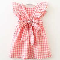 Vestido de verano para niña, ropa sin mangas a cuadros, con volantes y Espalda descubierta, cuello redondo